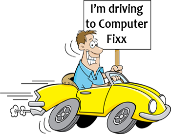 Man Driving To Computer Fixx